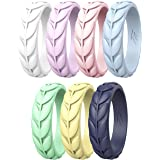 Zollen Olive Leaves Silicone Wedding Rings for Women, Rubber Wedding Bands Stackable Ring, Hypoallergenic Silicone