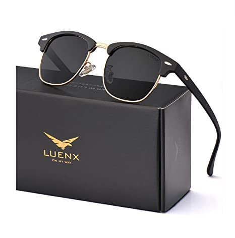 b60e36180e Image Unavailable. Image not available for. Color  LUENX Men Women Semi  Rimless Polarized Sunglasses UV 400 Protection 51MM with Case ...