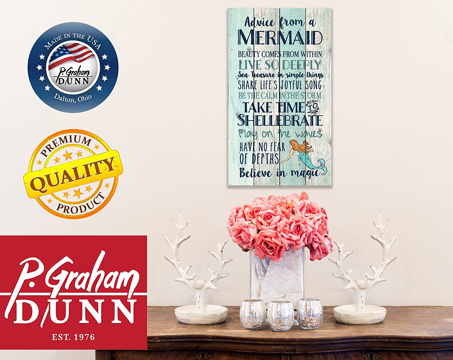 3f89ddecaf8 Amazon.com  P. GRAHAM DUNN Advice from a Mermaid Believe in Magic 24 x 14  Wood Pallet Wall Art Sign Plaque  Home   Kitchen