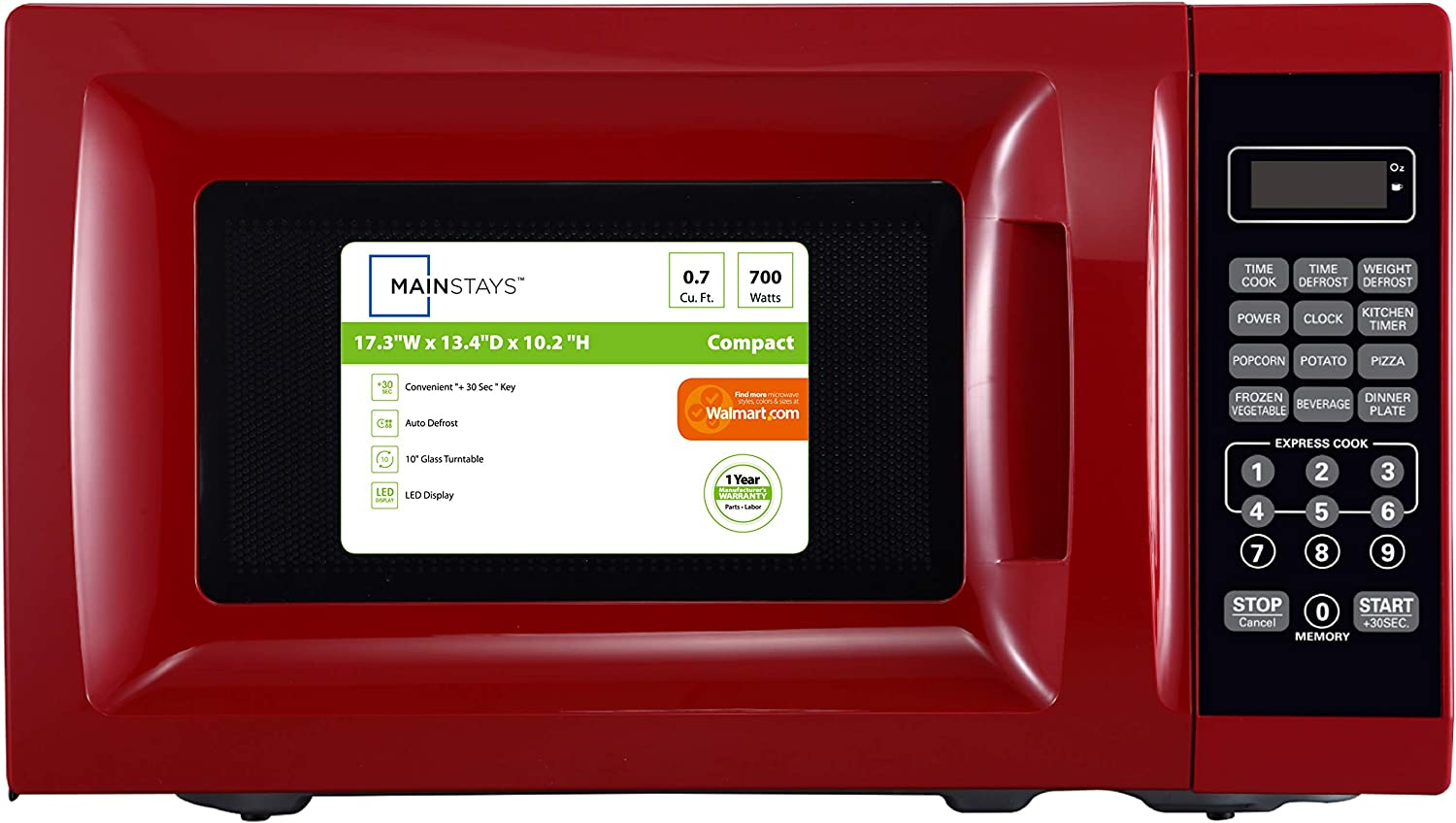 700W Red Microwave with 10 Power Levels Ft Mainstays 0.7 Cu