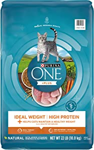 Purina ONE High Protein, Healthy Weight Dry Cat Food, +Plus Ideal Weight with Turkey - 22 lb. Bag