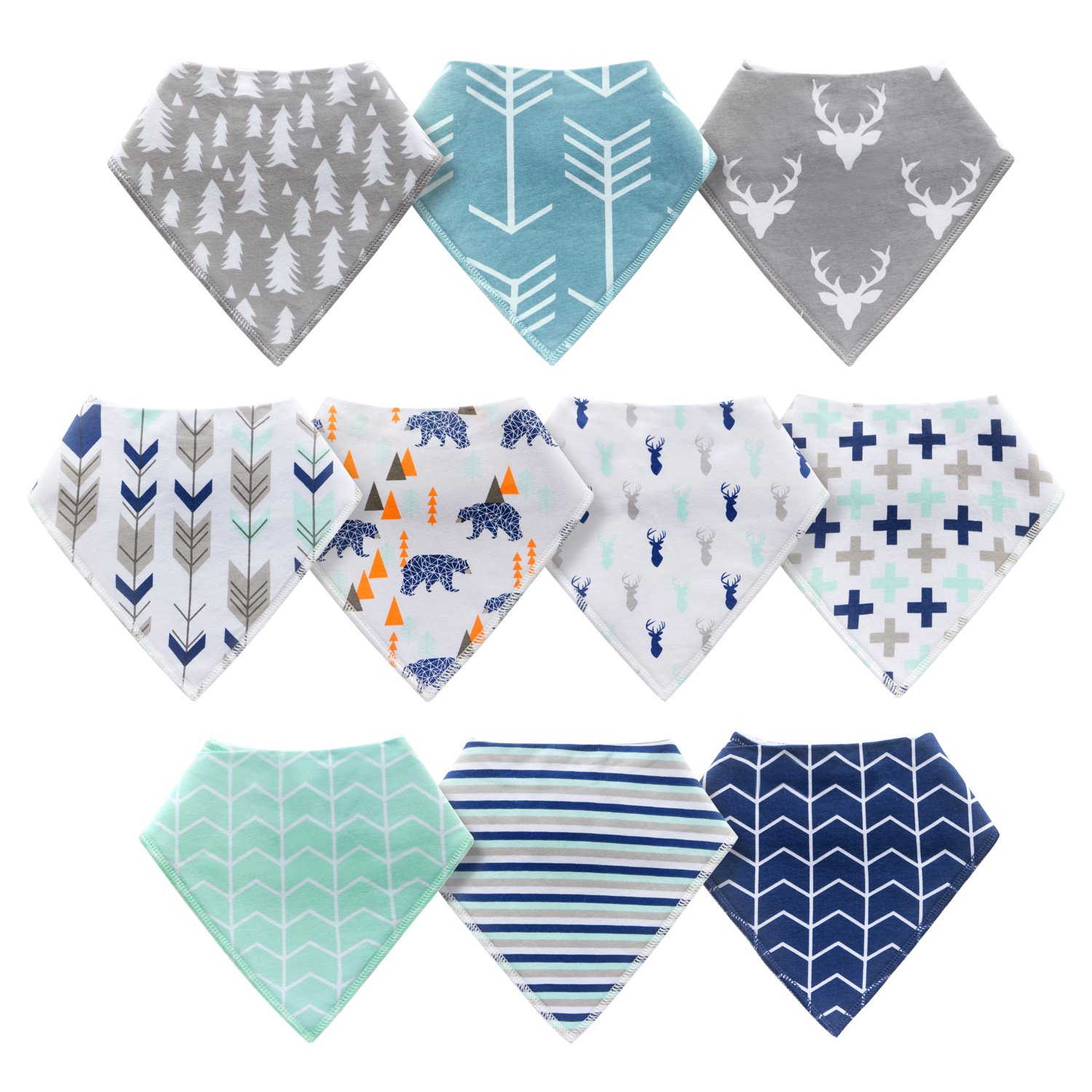 10-Pack Baby Bandana Drool Bibs for Drooling and Teething Boys Girls by MiiYoung by MiiYoung (Image #2)