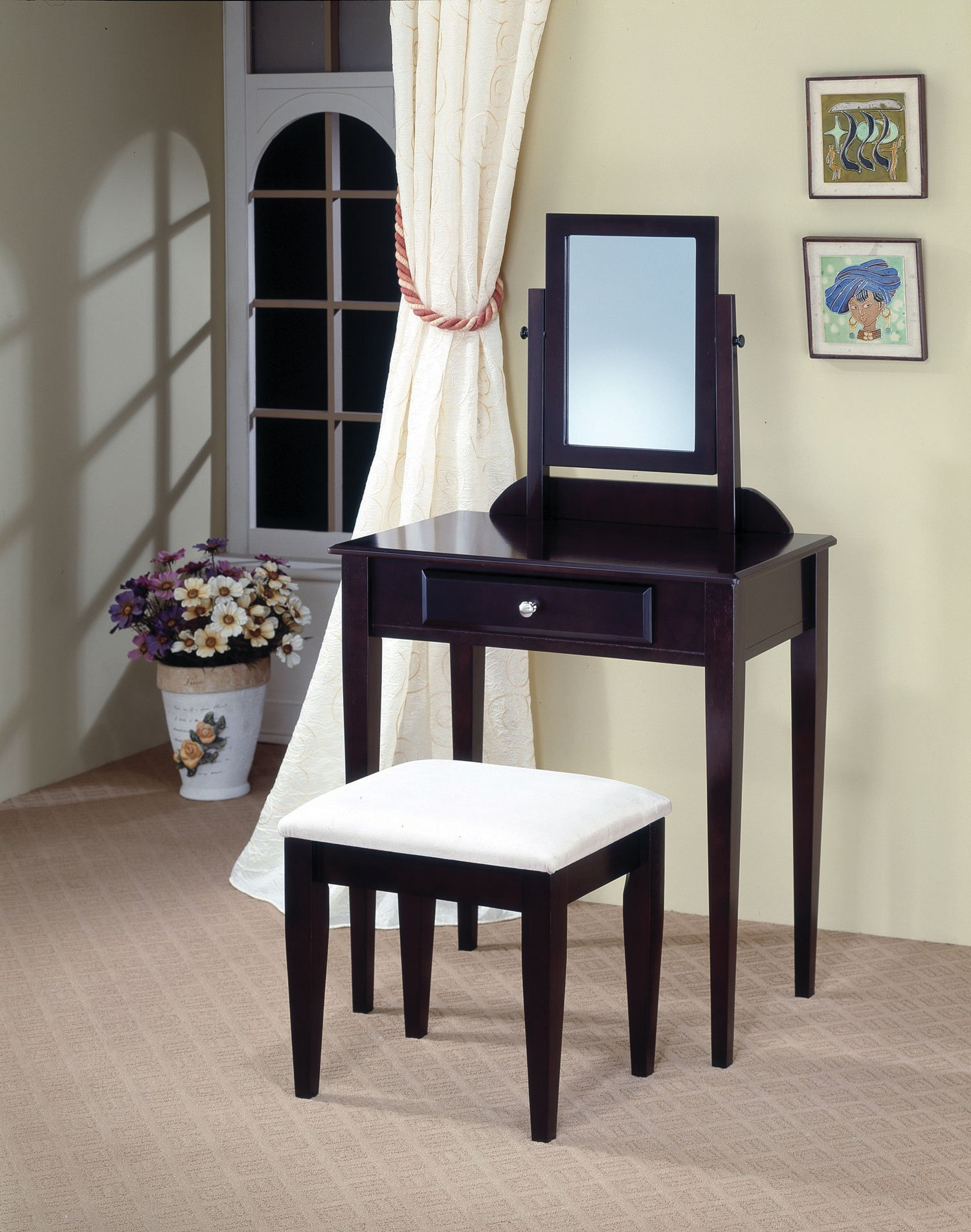Vanities Contemporary Vanity and Stool with Fabric Seat by Coaster