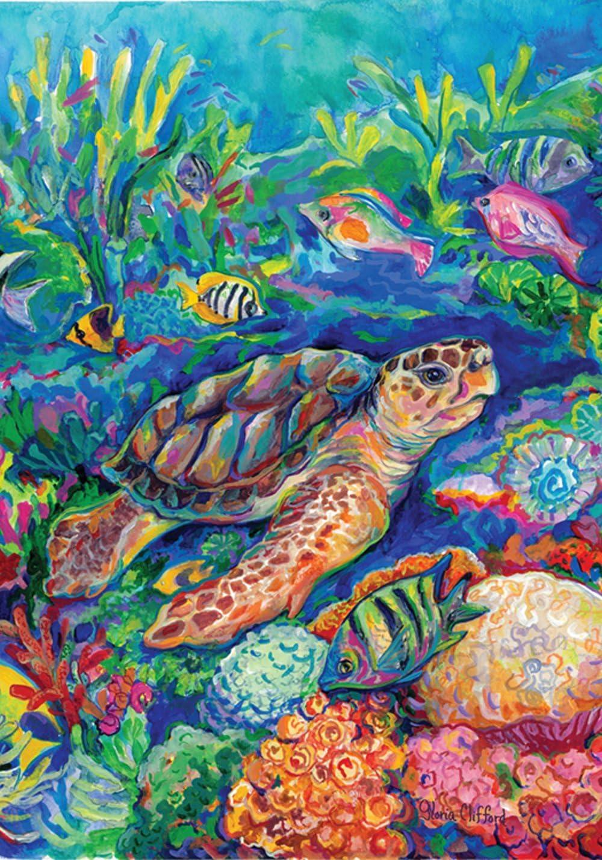 "Toland Home Garden 109438 Loggerhead Turtle 28 x 40 Inch Decorative, House Flag (28"" x 40"")"