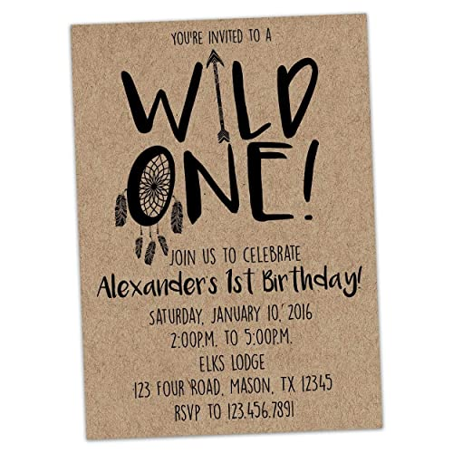 Image Unavailable Not Available For Color Wild ONE Birthday Invitation 1st Boy Invite