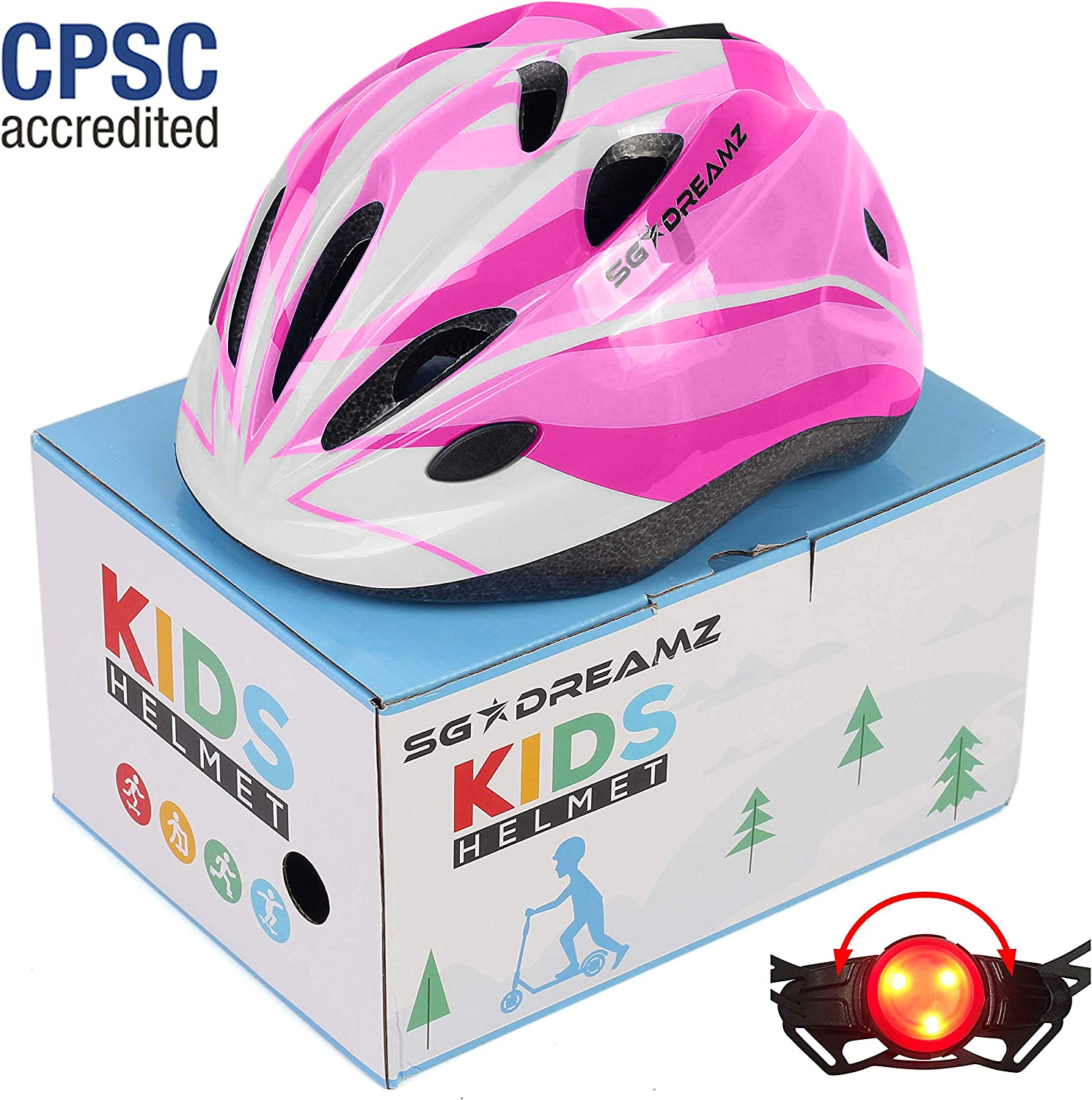 Kids Helmet – Adjustable from Toddler to Youth Size, Ages 3 to 7 - Comes in Great Looking Package Perfect for Gift - Multi-Sports with LED Safety Light - CSPC Certified for Safety
