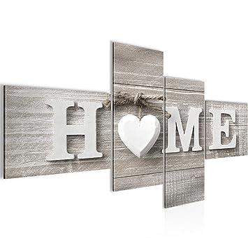 Runa Art Bilder Home Herz Wandbild Vlies - Leinwand Bild XXL Format ...