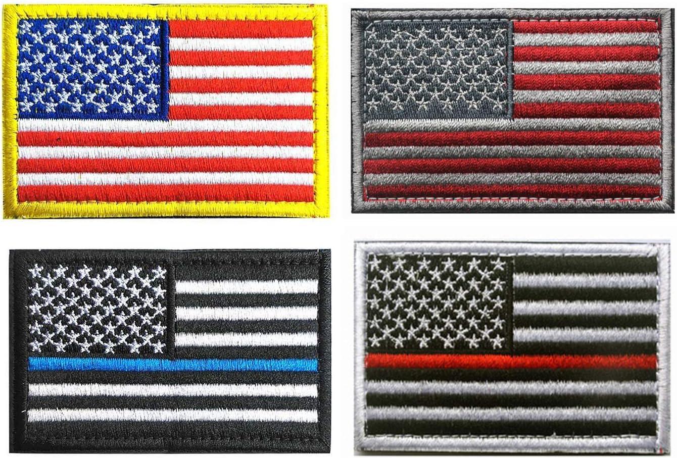 Bandera de Estados Unidos parche de Velcro, Towee 6 Pack American bandera Estados Unidos banderas etiquetas de parches de velcro de el Castigador Tactical parche Militar parche bordado frontera América uniforme Militar