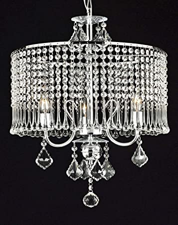 Contemporary 3-light Crystal Chandelier Chandeliers Lighting With Crystal  Shade! SWAG PLUG IN-