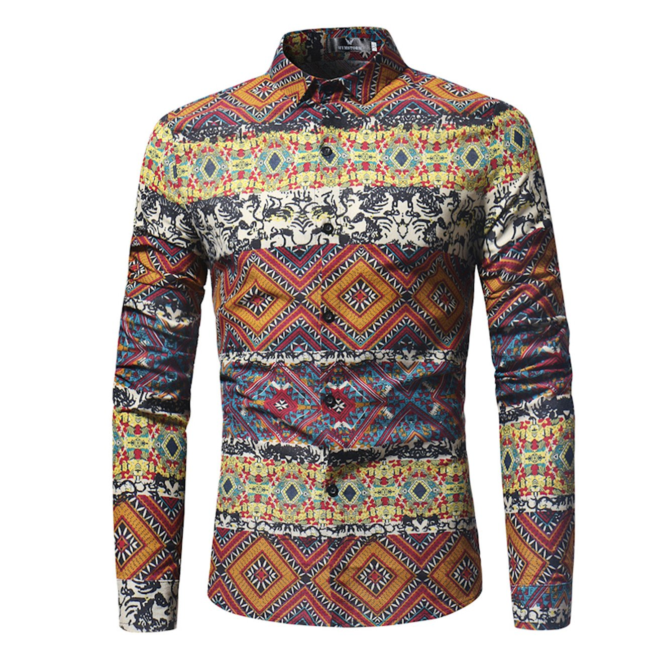 Mens Printed Casual Fashion Long-Sleeved Button Down Shirt