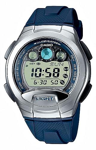 Casio W-755-2AVES - Reloj digital de caballero de cuarzo con correa de resina azul (cronómetro, alarma, luz) - sumergible a 100 metros: Amazon.es: Relojes