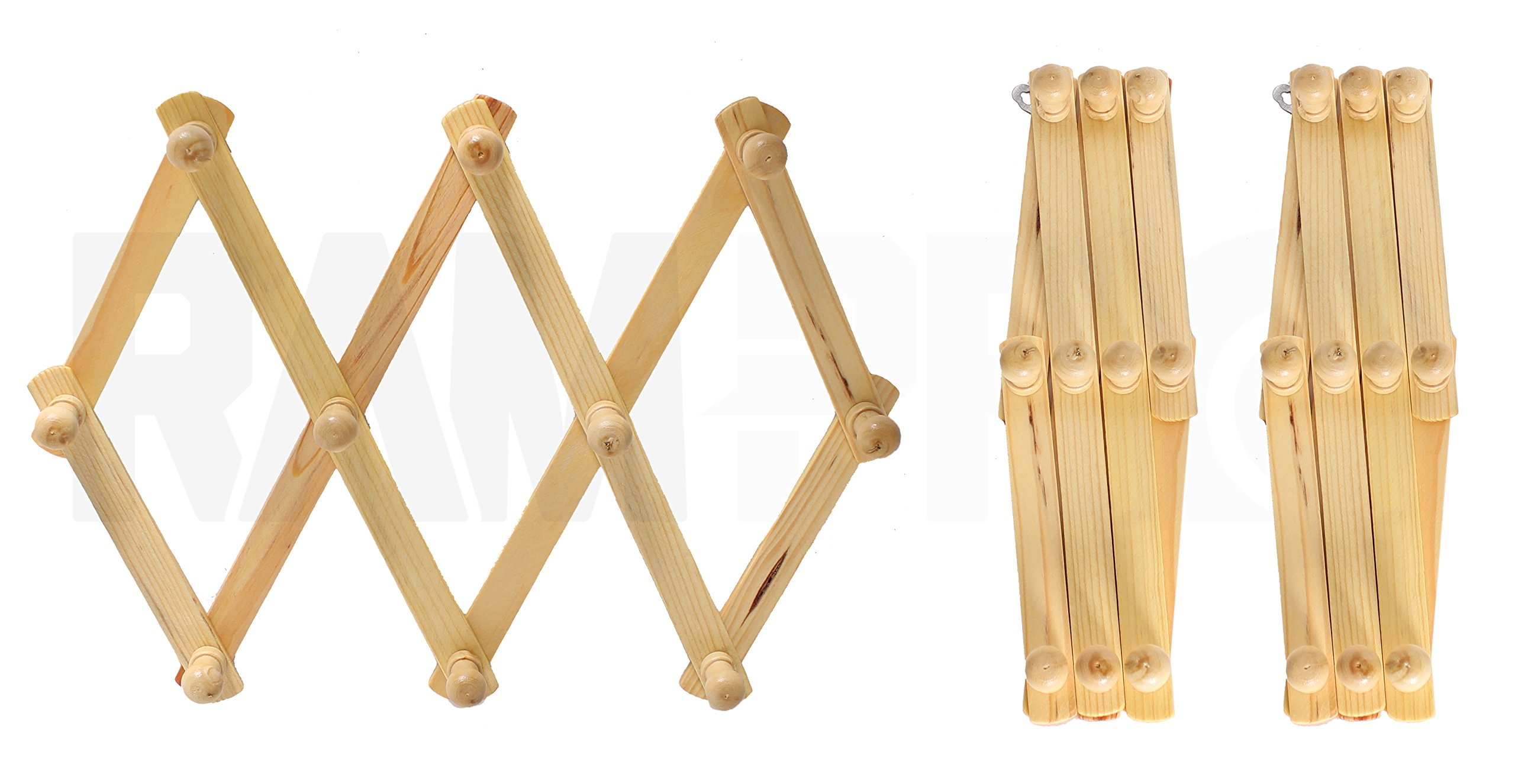 Set of 3 RAM-PRO Accordion Style Wood Expandable Wall Rack For Hat, Cap, Belt, Umbrella Coffee Mug Jewelry Hanging wooden Pegs