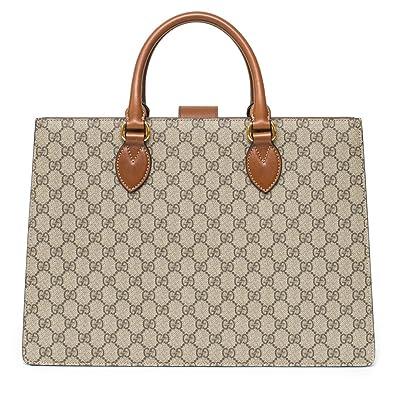 81a2a8f19f117b Amazon.com: Gucci GG Supreme Coated Tote Signature Ebony Cuir Brown ...