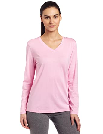 HUE Womens Long Sleeve Sleep V-Neck Sleep Tee - Pink -  Amazon.co.uk ... e5f4e357c