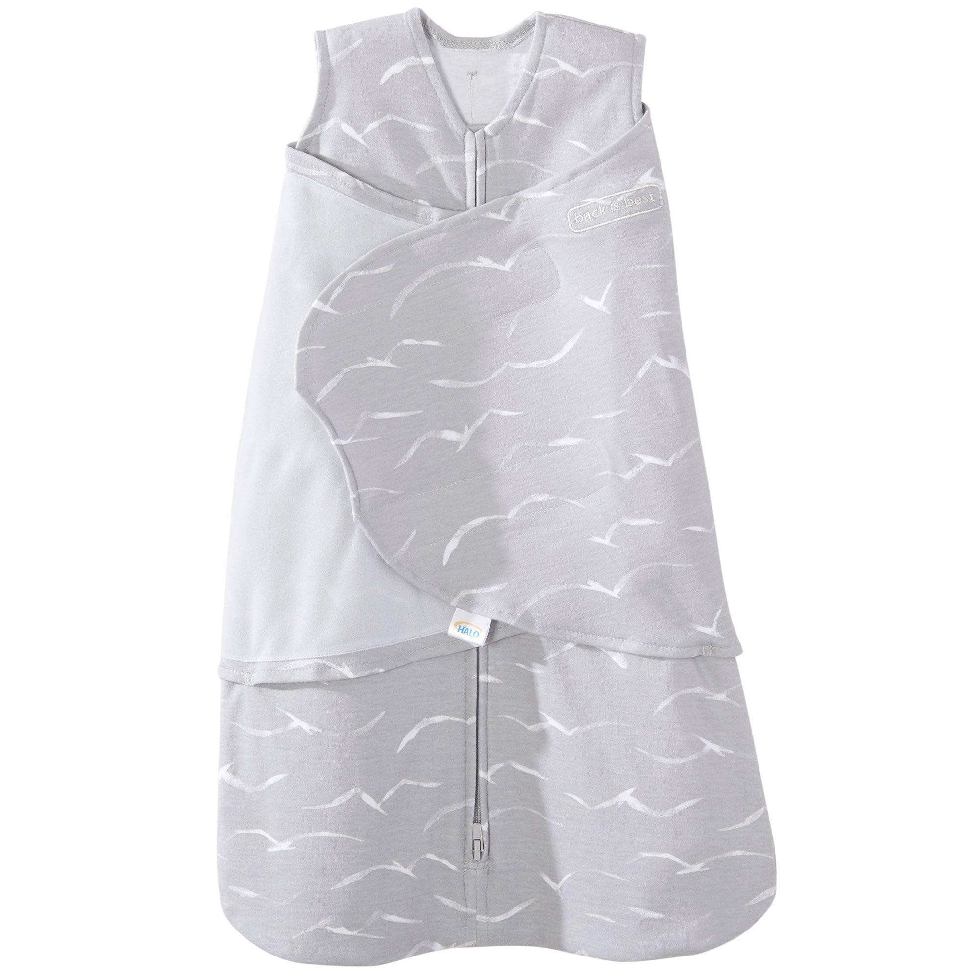 Halo 100% Cotton Sleepsack Swaddle Wearable Blanket, Grey Birds, Newborn