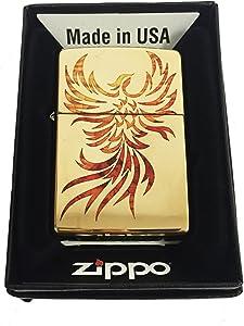 Zippo Custom Lighter - Flying Fire Bird Flaming Phoenix Spiritual Logo Fuzion - High Polish Brass - Gifts for Him, for Her, for Boys, for Girls, for Husband, for Wife, for Them, for Men, for Women