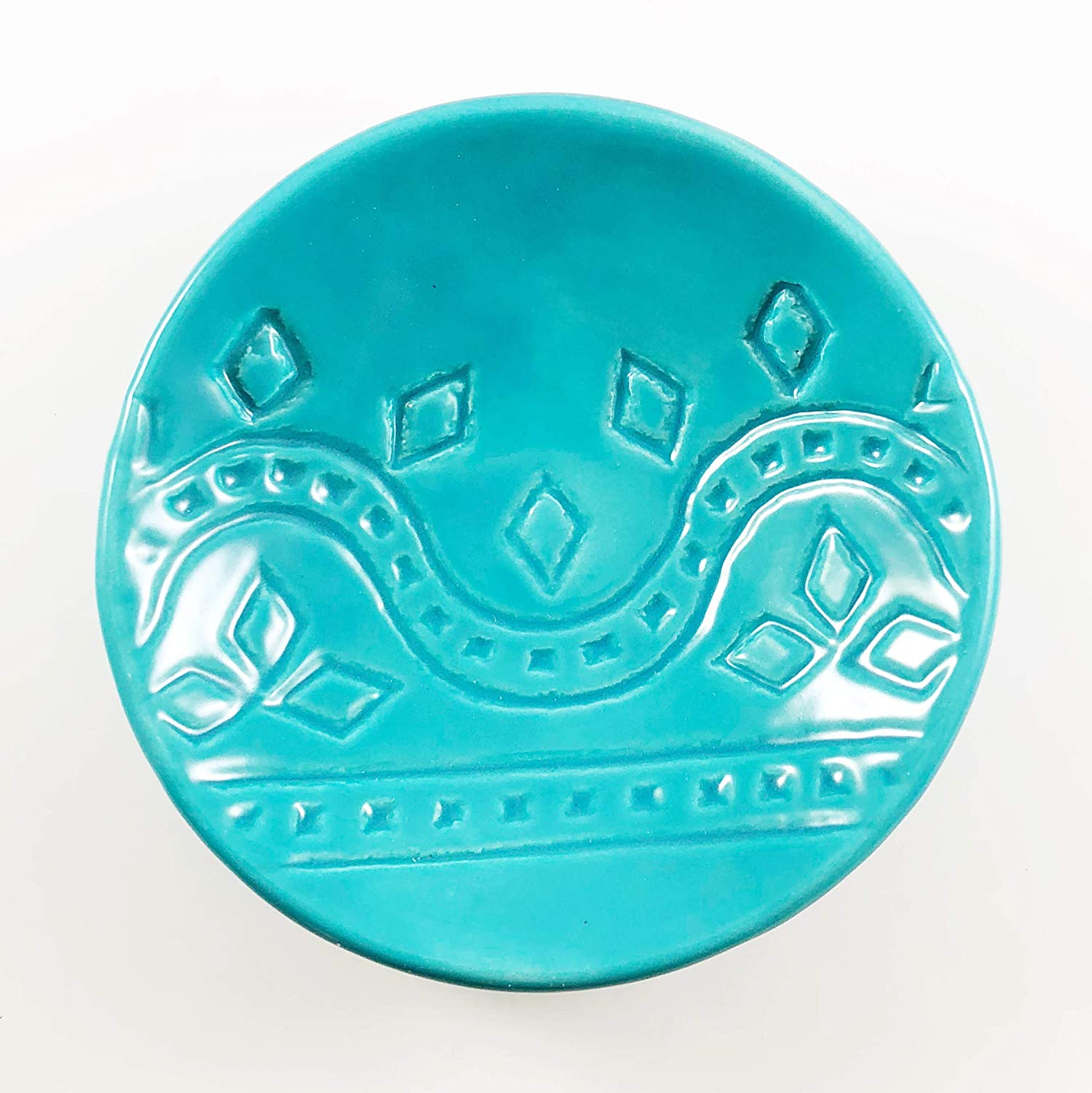 Turquoise Ring Dish - Handmade Jewelry Bowl with geometric pattern and light aqua glaze