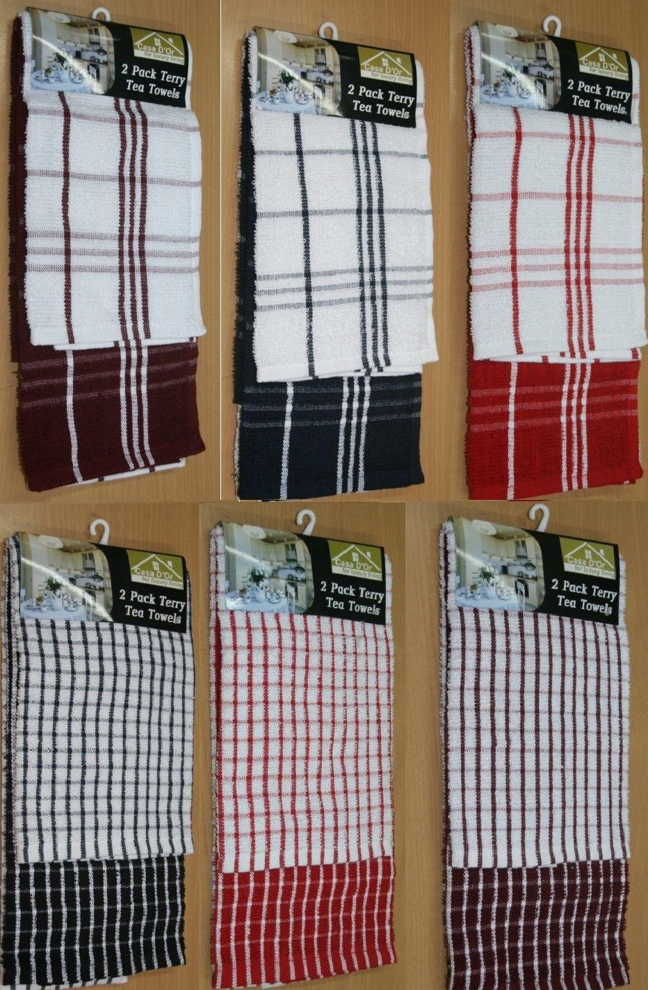 X LARGE JUMBO CHECK TERRY COTTON MULTI TEA TOWEL KITCHEN DISH CLEANING CLOTH SET PACK OF 12)