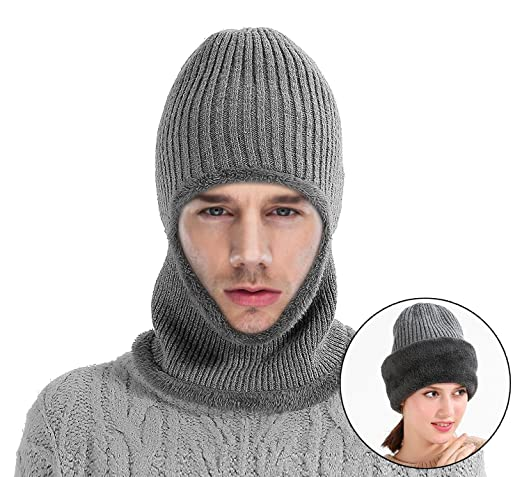 MOCOFO Kint Winter Hats, 3-In-1 Cold Weather Beanie With Flexible Neck Guard For Men and Women,Winter Face Mask Riding Hat For Outdoor Sports Cycling Motorcycle Ski Snowboard or Fishing