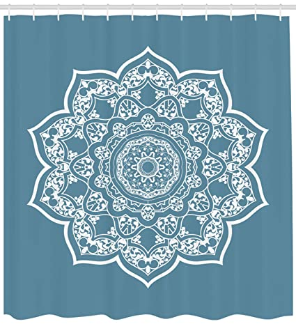 Ambesonne Lotus Shower Curtain Cultural Ethnic Universe Symbol Floral Mandala With Lace Effects Boho Motif