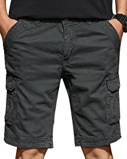 d13034c7d7 TRENSOM Men's Casual Loose Fit Cargo Shorts, Straight Multi-Pocket Cotton  Outdoor Wear