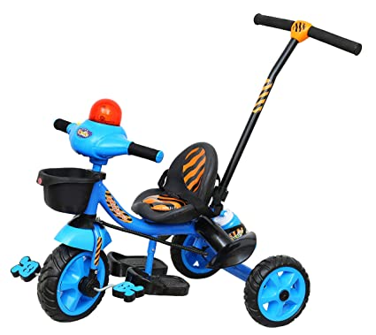 Luusa Tricycle Lovely Bike for Kids with Musical Horn and Parental Control (Blue)