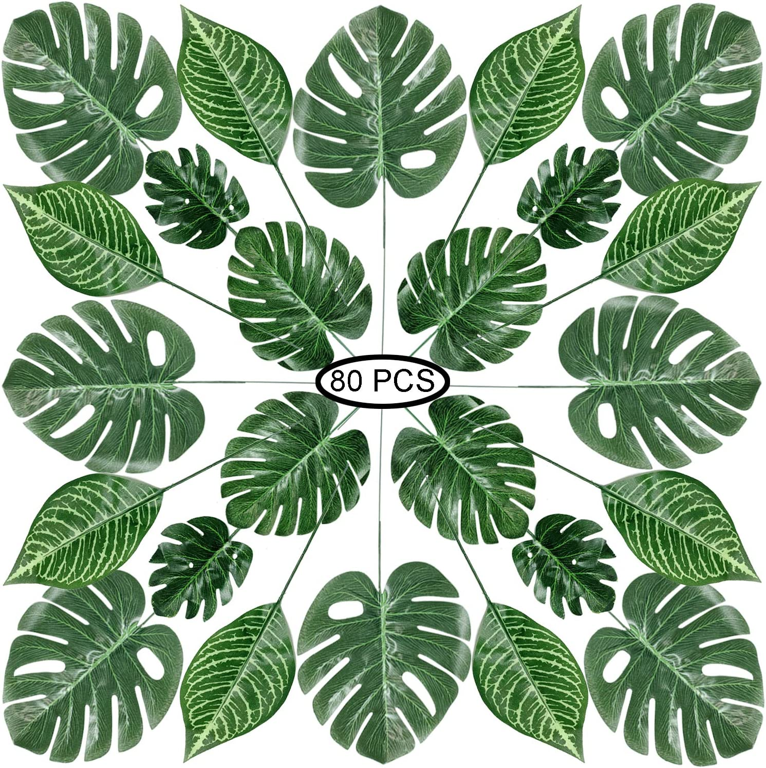 Amazon Com Recosis 80 Pieces 4 Kinds Artificial Palm Leaves With Stems Faux Monstera Leaves Tropical Plant Simulation Safari Leaves For Tropical Leaves Decorations Beach Birthday Jungle Hawaiian Luau Party Home Kitchen About 23% of these are artificial plant. recosis 80 pieces 4 kinds artificial palm leaves with stems faux monstera leaves tropical plant simulation safari leaves for tropical leaves