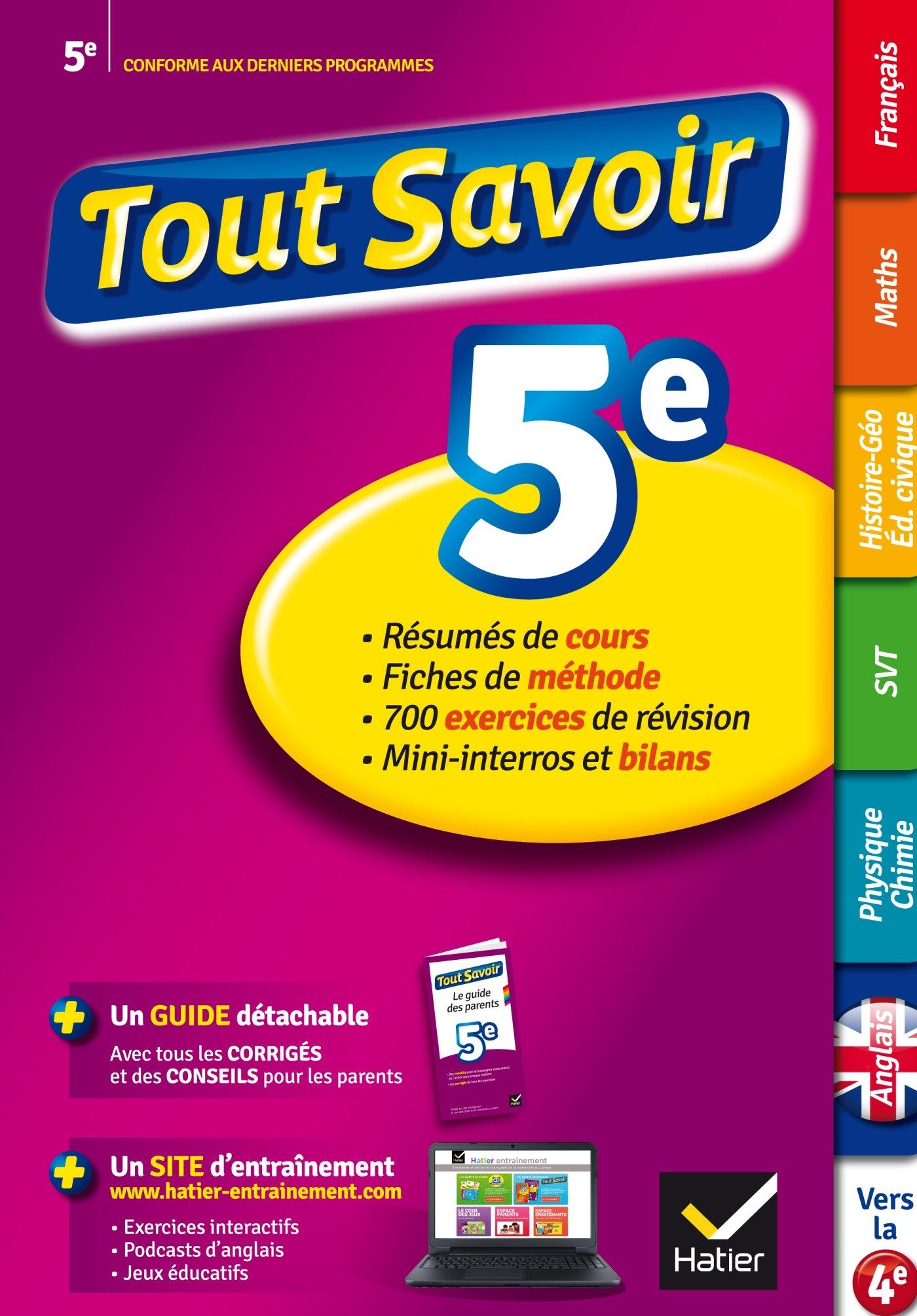 Tout Savoir 5eme French Edition 9782218976322 Amazon