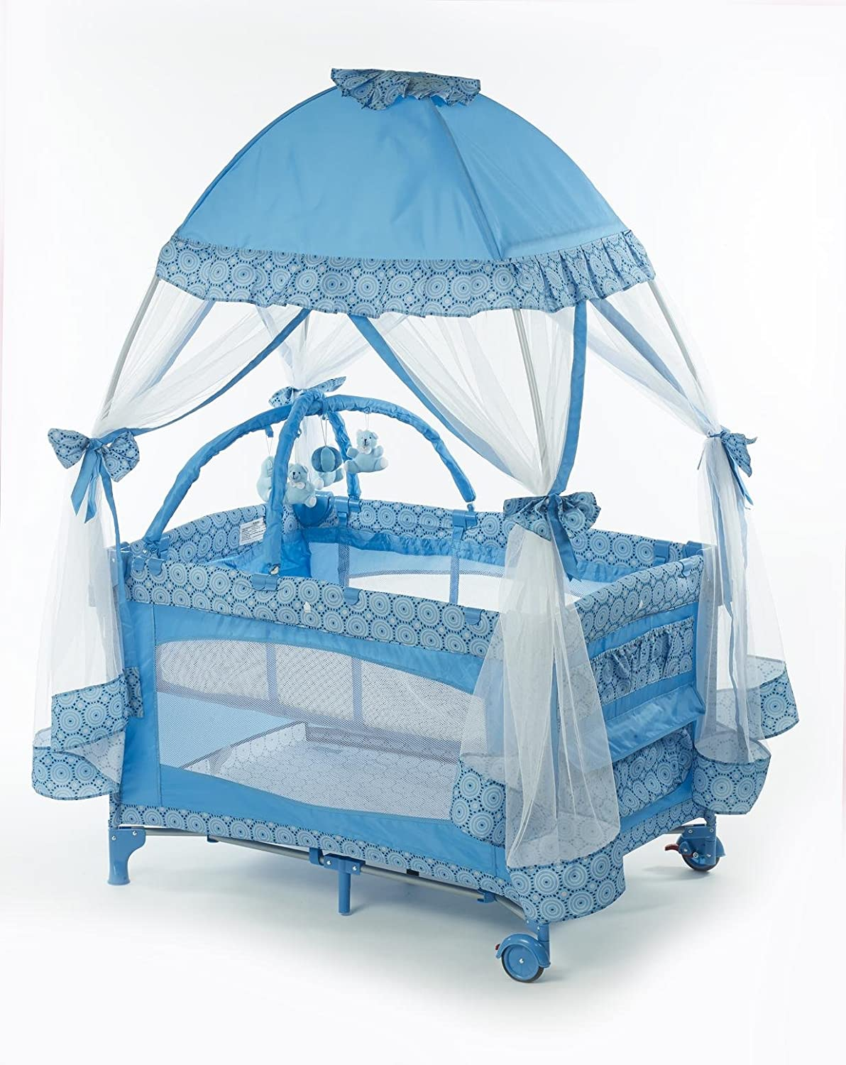 Baby bed net - Amazon Com Big Oshi Playard With Mosquito Net And Carry Bag Light Blue Baby