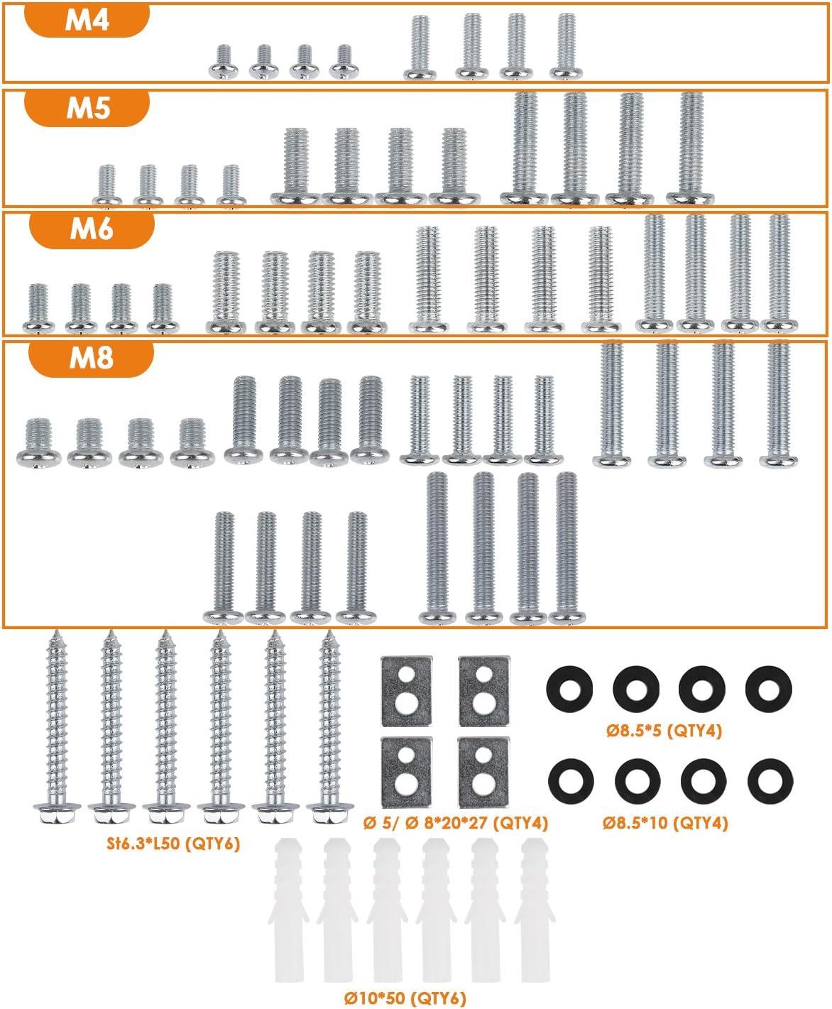 SIMBR - Kit de montaje universal para televisores (compatible con todos los televisores, incluye tornillos M4, M5, M6 y M8 y espaciador para montaje prácticamente todos los televisores de hasta 85 pulgadas):