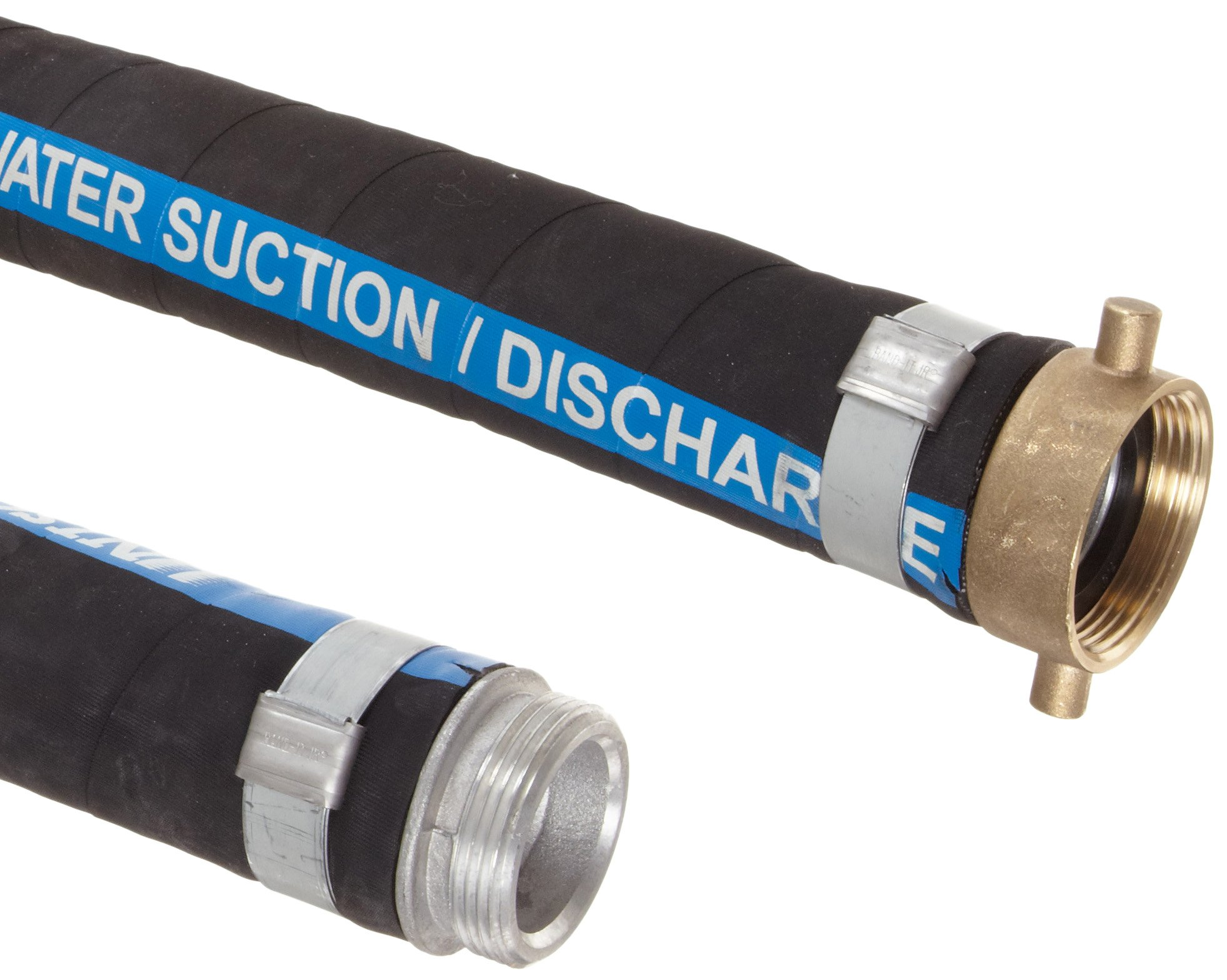 Unisource 2612 Black Rubber Suction/Discharge Hose Assembly, 4'' MPT x NPSM Female Swivel Connection, 150 PSI Maximum Pressure, 10' Length, 4'' ID