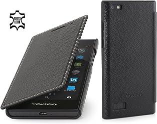StilGut Book Type Case Senza Clip, Custodia in Vera Pelle per Blackberry Leap, Nero
