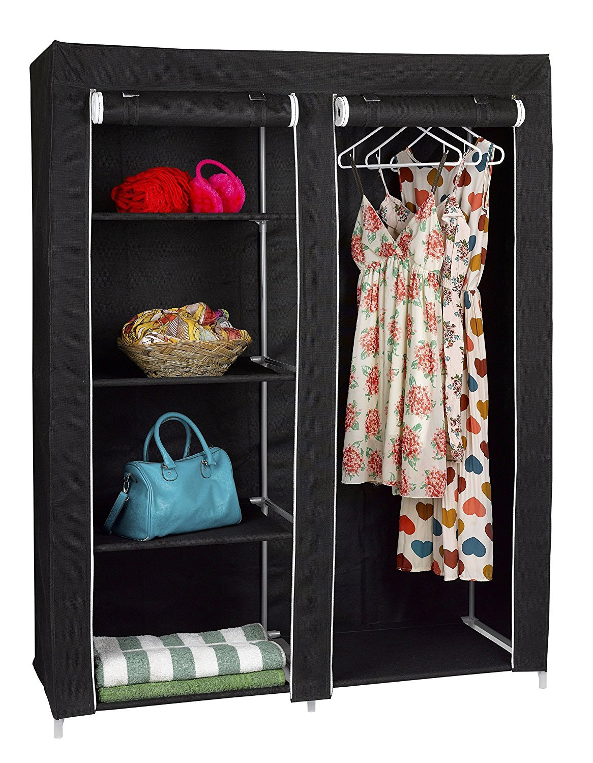 FloridaBrands Portable Closet Wardrobe - 62'' Clothes Closet Storage Organizer and Non-Woven Fabric Standing Wardrobe with Hanging Rack and 4 Shelves for Keeping Clothing Safe, Dust-Proof Cover by by FloridaBrands (Image #1)