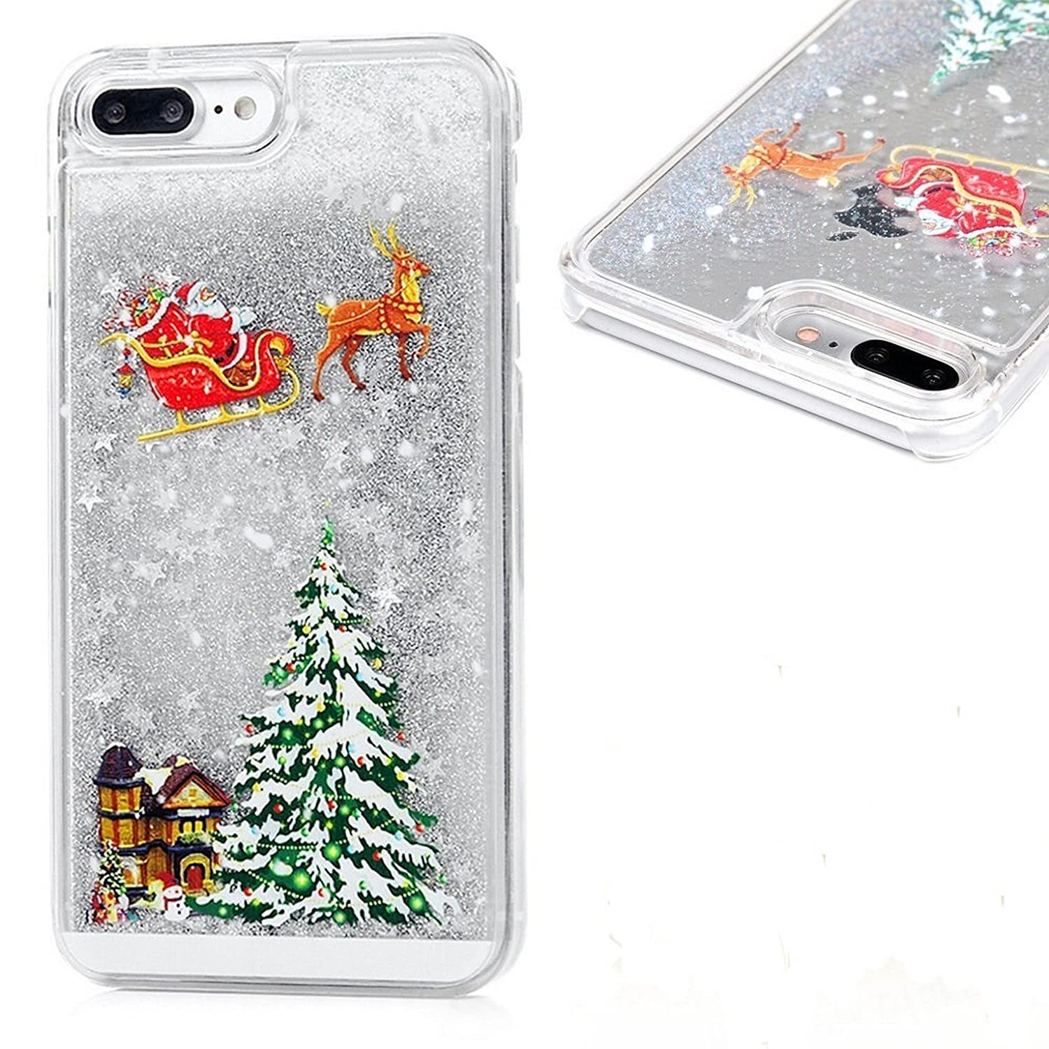 Christmas Phone Case Iphone 7.Christmas Phone Case For Iphone 7 Plus 8 Plus 5 5 Sparkly Bling Stars And Glitter Flowing Liquid Water Aqua Movable With Christmas Tree Santa Claus