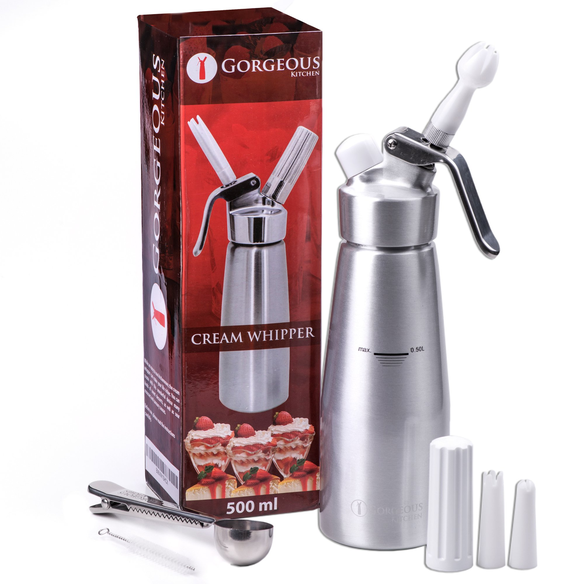 Professional Whipped Cream Dispenser Aluminum Cream Whipper, Durable Stainless Steel Coffee Spoon, 3 Decorating Nozzles, Charger Holder, Cleaning Brush and Instruction Manual Included - 1 Pint