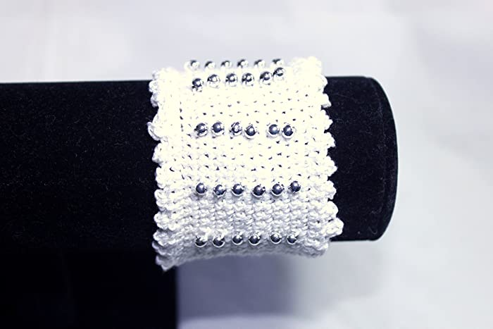 Amazon Victorian Style Beaded Hand Crafted Crochet Cuff