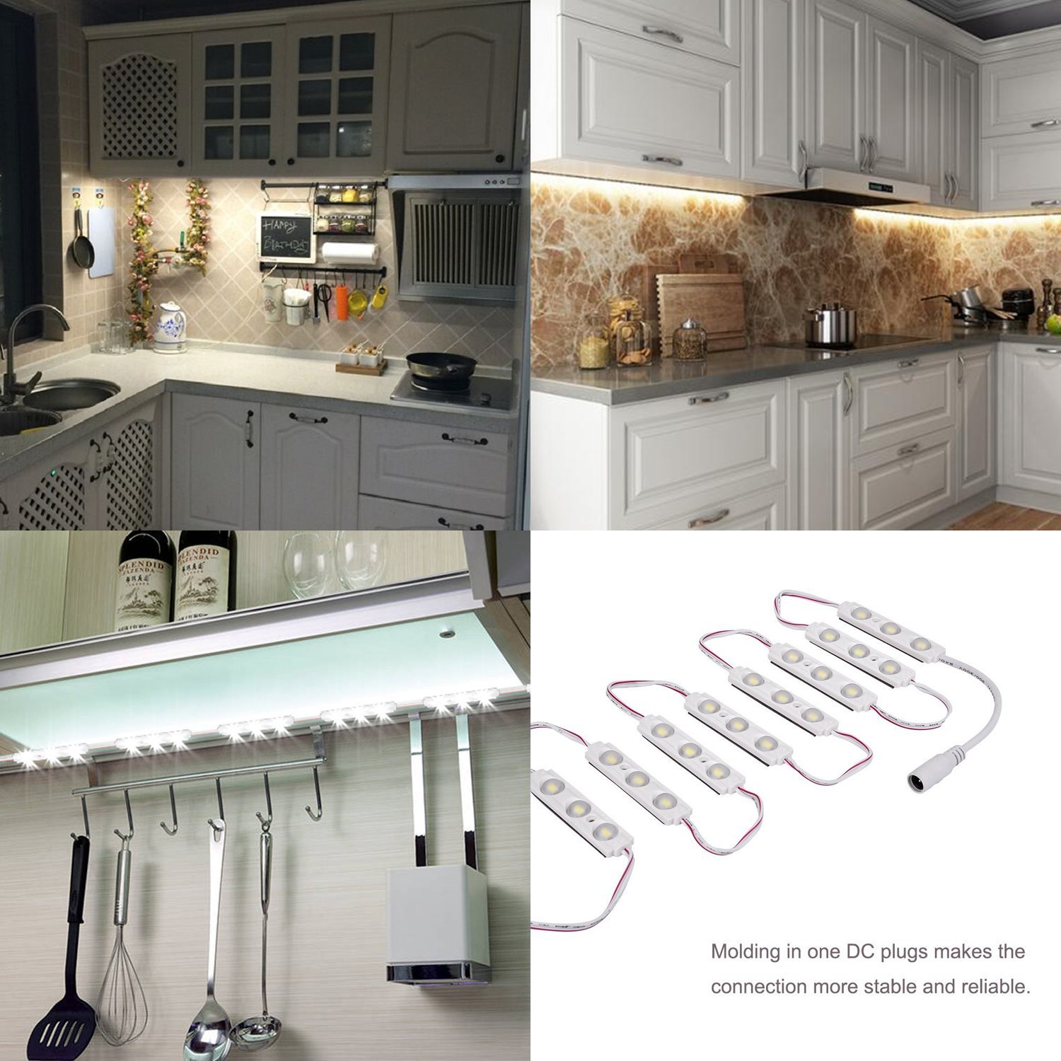 Kimbar LED Under Cabinet Dimmable Lighting Kit Closet Kitchen Counter Vanity Mirror DIY Lights Kit for Makeup Dressing Table Feeding Night Baby Bedside Lamp 36W 2400LM-60leds White 10f Warm White