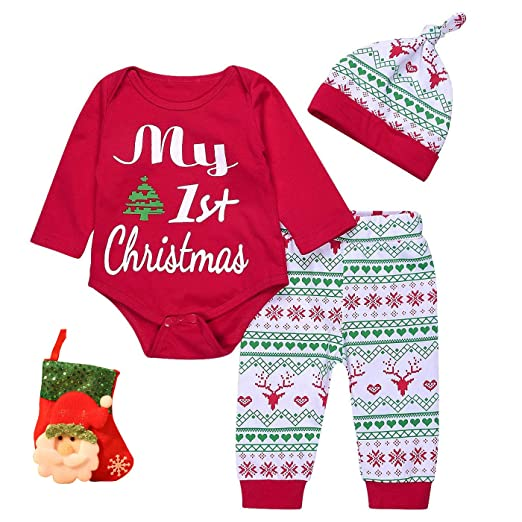 649e79f05 Amazon.com  4PCs Baby Boys Girls My First Christmas Rompers +Deer ...