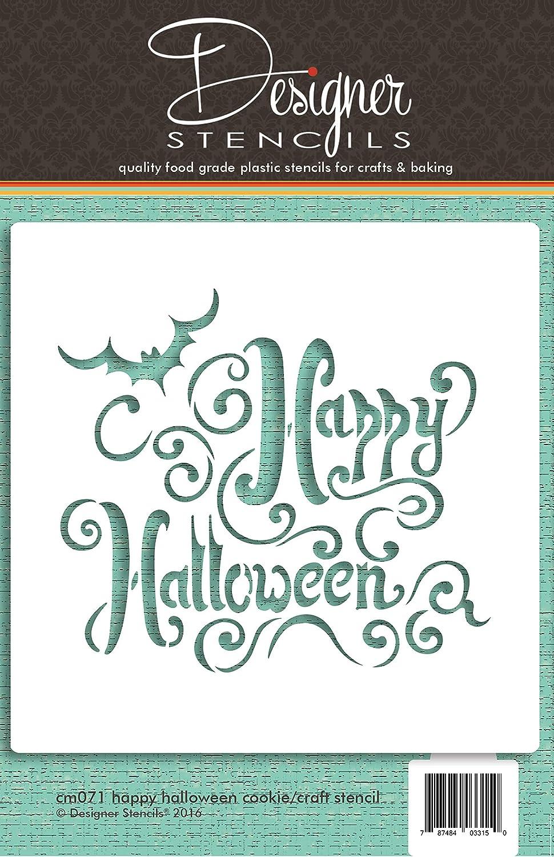 Amazon Com Happy Halloween Lettering Cookie And Craft Stencil By Designer Stencils Kitchen Dining