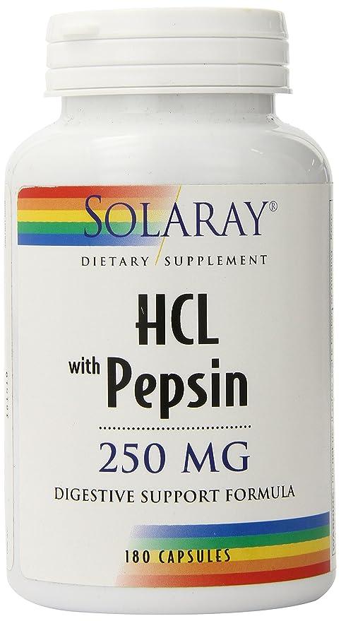 Solaray - HCL con el magnesio 250 de la pepsina. - 180 cápsulas