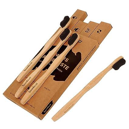 Juego de 4 Bambú Cepillo de dientes · Madera Cepillos de Dientes de bambú · 100% sin ...