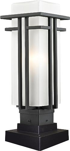 Z-Lite 549PHM-SQPM-BK Outdoor Pier Mount Light with Black Aluminum Finish, Matte Opal shade