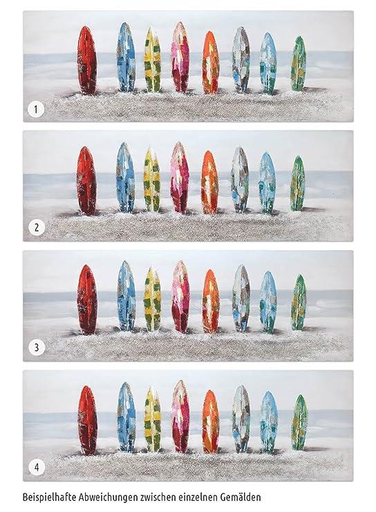 KunstLoft® cuadro acrílico Surf Siesta 150x50cm | Original pintura XXL pintado a mano en lienzo | playa mar tablas de surf olas colorido | Mural acrílico ...