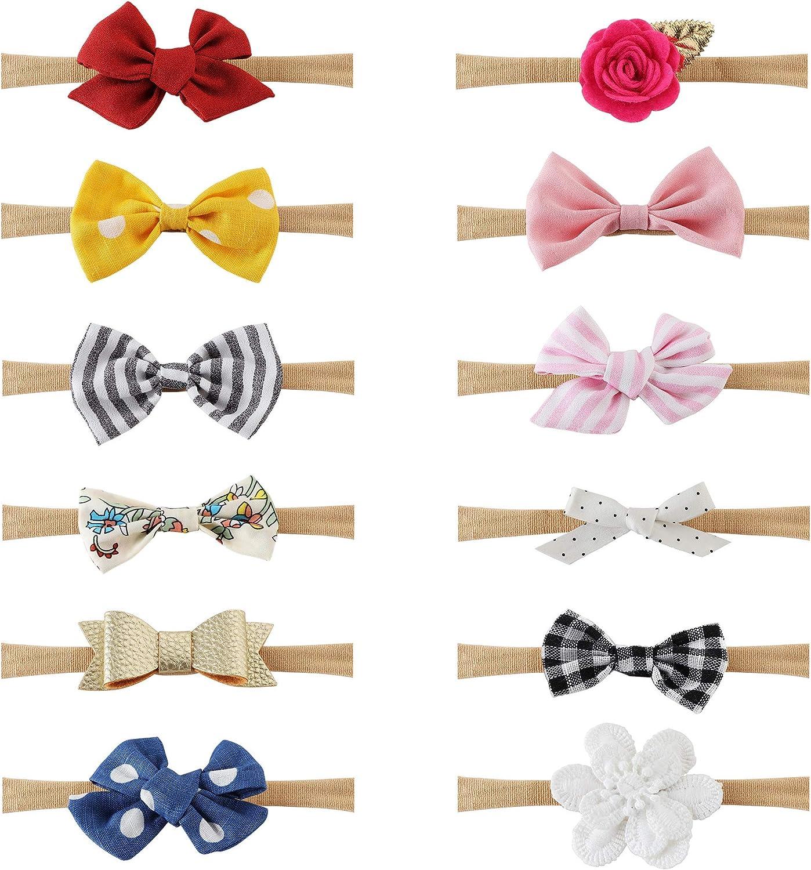Milacolato 12Pcs Baby Girl Headbands and Bows, Accesorios para el Cabello para Bebés Recién Nacidos Niño Pequeño Nylon Headbands Niños Regalos