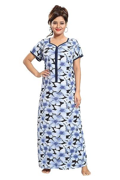 5401af6567 TUCUTE Women s Flower Print Nighty Night Gown Nightwear Nightdress with  16 quot  Long