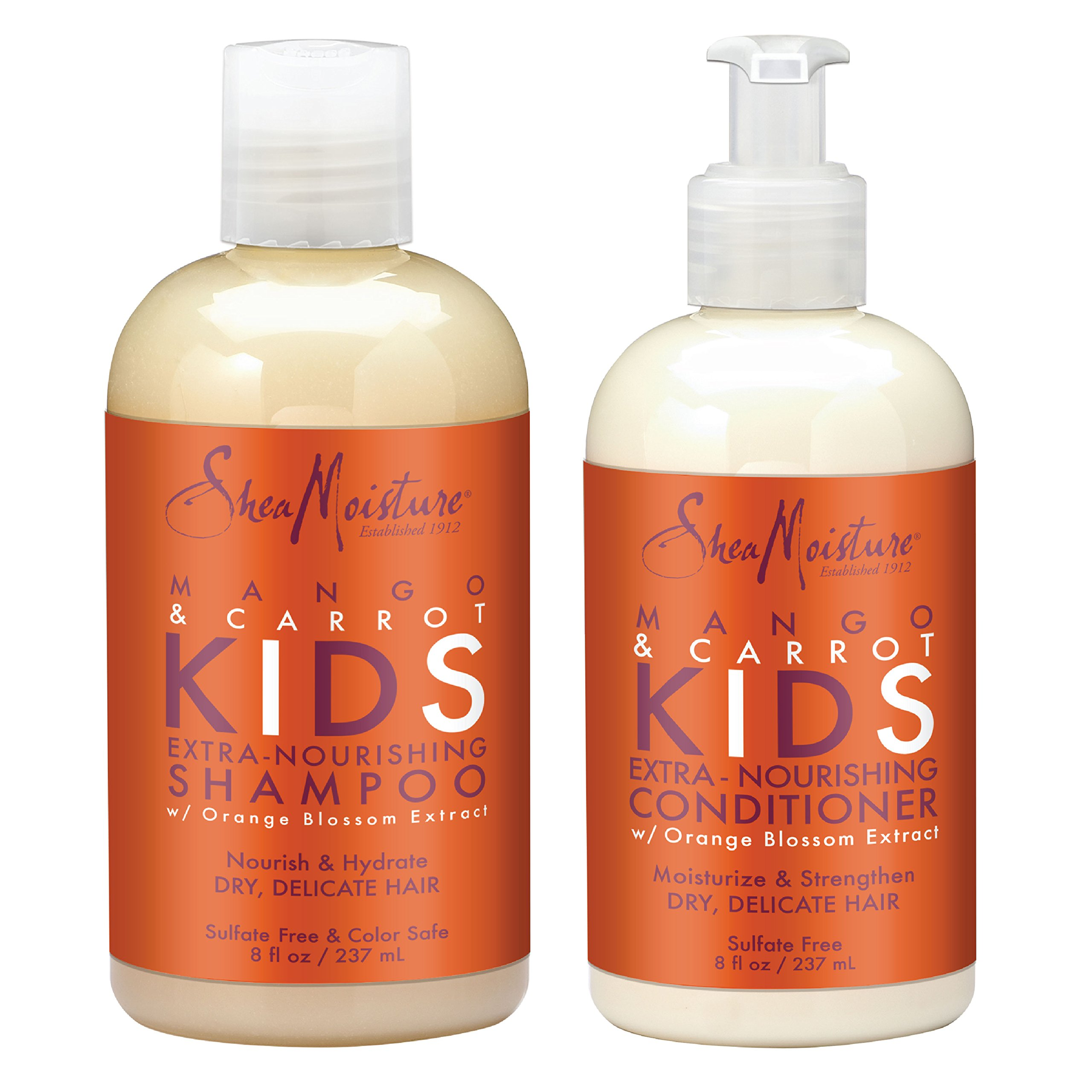 SheaMoisture Mango & Carrot KIDS, Extra-Nourishing, Shampoo and Conditioner, Orange Blossom Extract, Dry, Delicate Hair, 8 fl oz Each by Shea Moisture