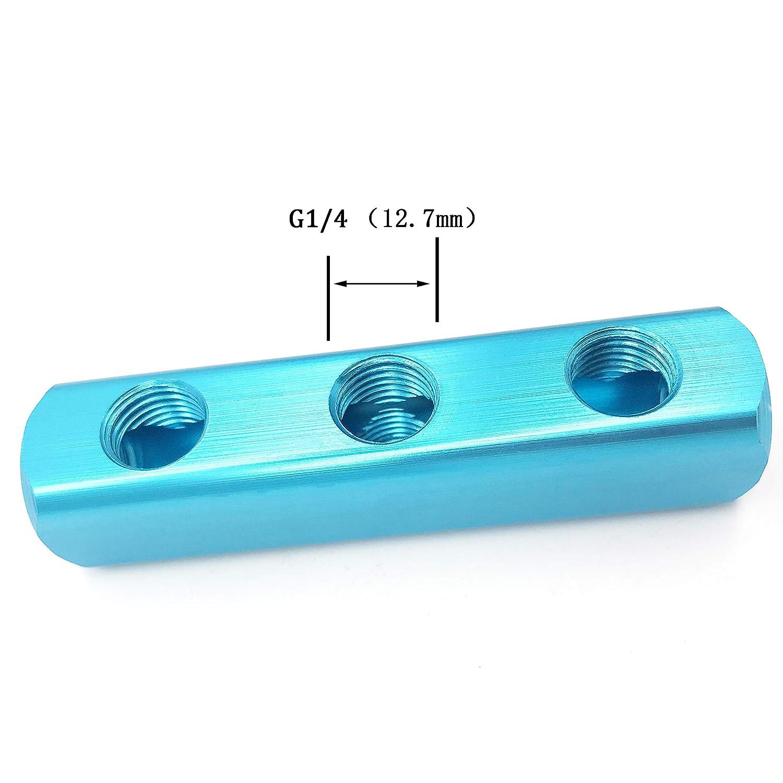 1//4 G Threaded Pneumatic 6 Ports 3 Way Quick Connect Splitter Air Hose Inline Manifold Block Splitter