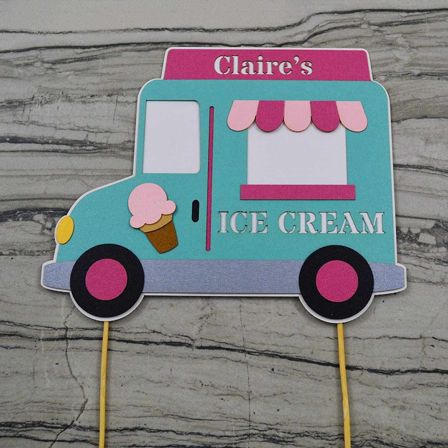 Amazon com: Ice Cream Truck Birthday Cake Topper