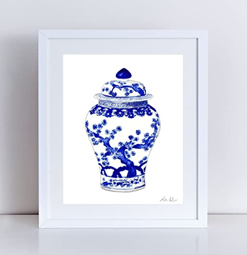 20a19ed9b94 Blue and White China Art Ginger Jar Print 10 Asian Wall Decor Chinese Wall  Art Chinoiserie Art Hollywood Regency Decor Preppy Art Pretty Art Watercolor  ...