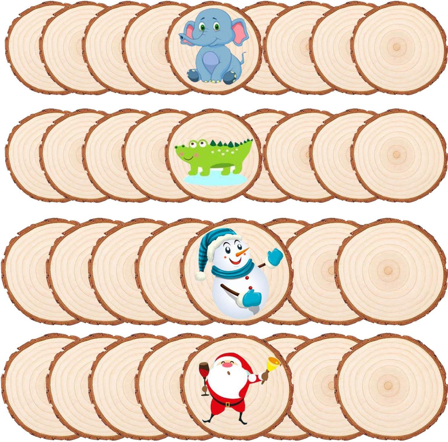 Liuer 50Pcs Rodajas de Madera Círculos Discos de Madera Rebanada Naturales Non Perforado Con Corteza de Árbol Para Manualidades Pintar Diy Posavasos Artesanías Decoraciones Navidad(5-6cm,6-7cm)